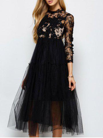 Long Sleeve Lace Sequins Tulle Evening Dress with Bralet Top - Black - L