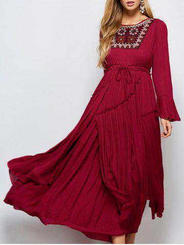 Latest Bell Sleeve Maxi Flowy Pleated Dress RED L