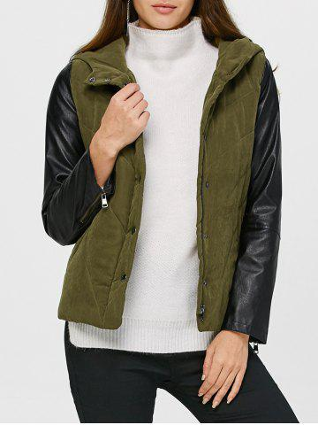 Fancy PU Leather Trim Hooded Padded Jacket