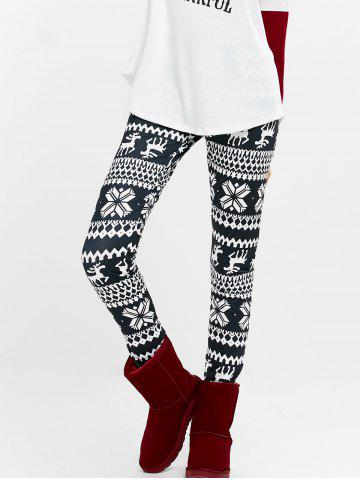 Online Elk Snowflake Print High Waist Leggings - L PURPLISH BLUE Mobile