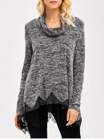 Affordable Cowl Neck Lace Trim Heather T-Shirt