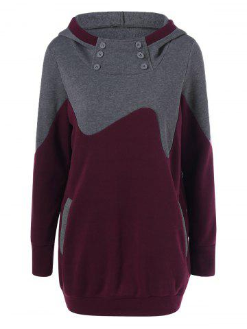 Best Color Block Vertical Pockets Longline Hoodie GRAY AND RED XL