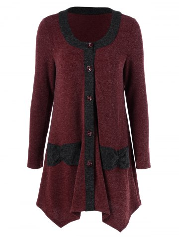 Outfits Button Up Asymmetrical Cardigan RED/BLACK XL