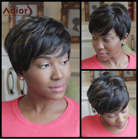 Fancy Adiors Shaggy Short Highlight Side Bang Synthetic Wig COLORMIX