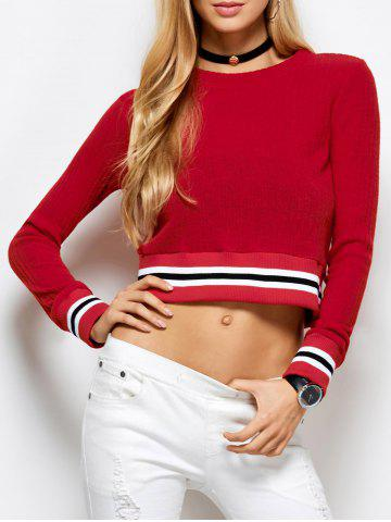 Online Knitted Cropped Sweater RED XL
