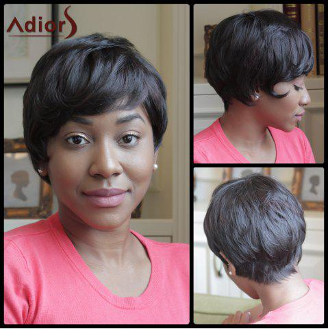 Shop Adiors Side Bang Straight Heat Resistant Synthetic Short Wig BLACK BROWN