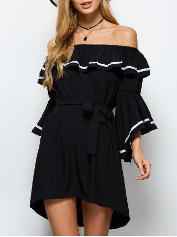Discount High Low Flounce Off The Shoulder Dress