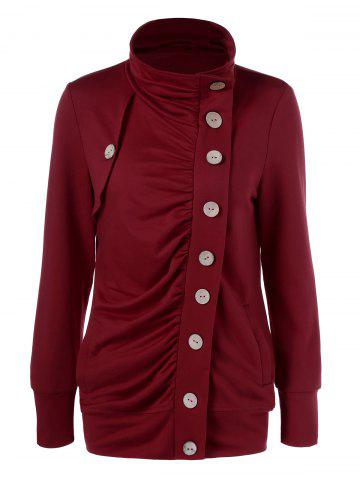 Hot Side Button Ruched Coat