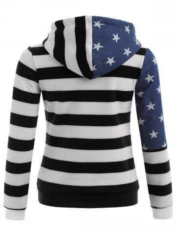Outfit American Flag Print Drawstring Hoodie - S BLACK Mobile