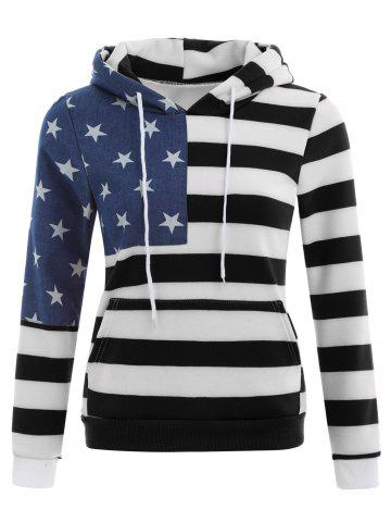 Cheap American Flag Print Drawstring Hoodie - S BLACK Mobile