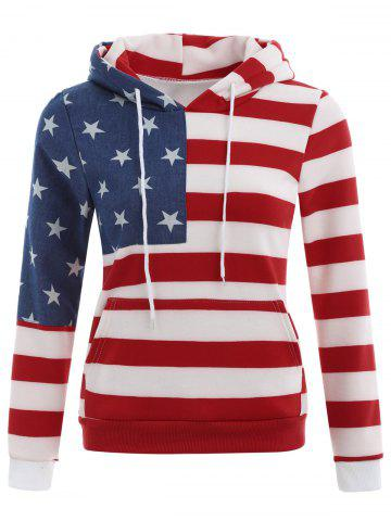 Best American Flag Print Drawstring Hoodie - XL RED Mobile