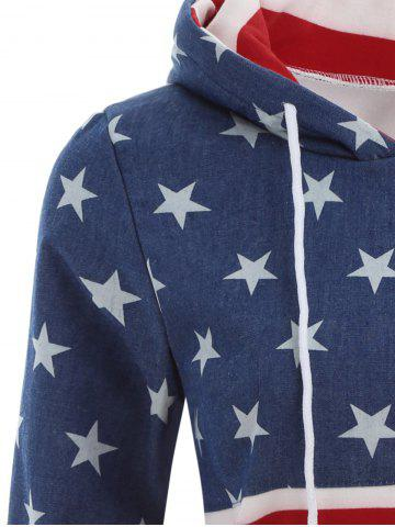 Sale American Flag Print Drawstring Hoodie - XL RED Mobile