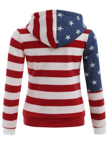 Latest American Flag Print Drawstring Hoodie - S RED Mobile