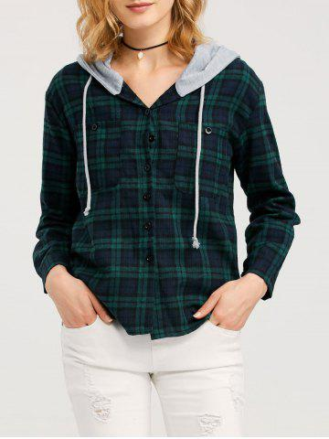 Fancy Button Up Hooded Flannel Plaid Shirt