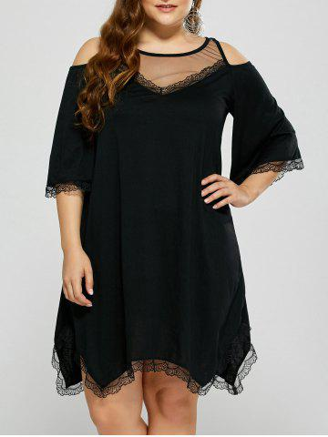 Outfits Cold Shoulder Sheer Mesh Plus Size Club Dress BLACK 4XL