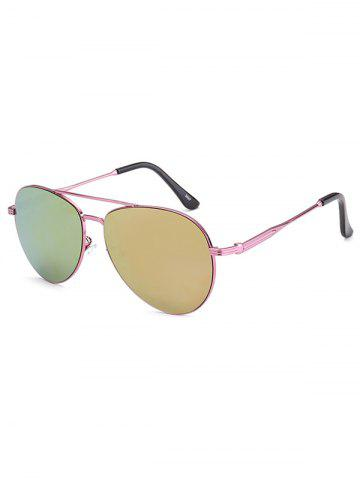 Discount Crossbar Anti UV Metal Pilot Mirrored Sunglasses PINK