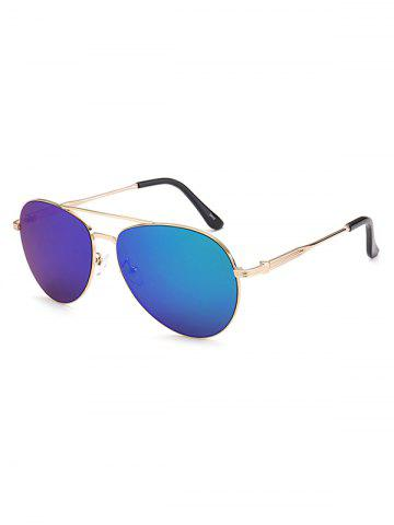 Affordable Crossbar Anti UV Metal Pilot Mirrored Sunglasses - BLUE  Mobile
