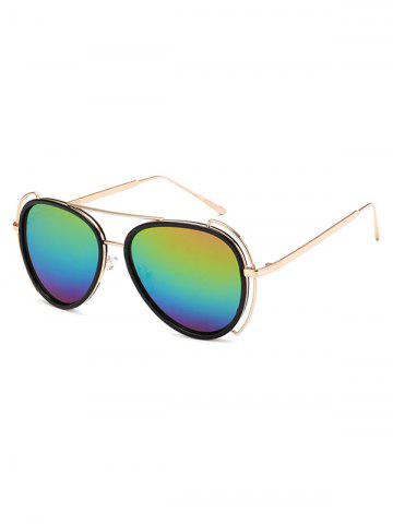Outfits Hollow Out Frame Crossbar Pilot Mirrored Sunglasses COLORFUL