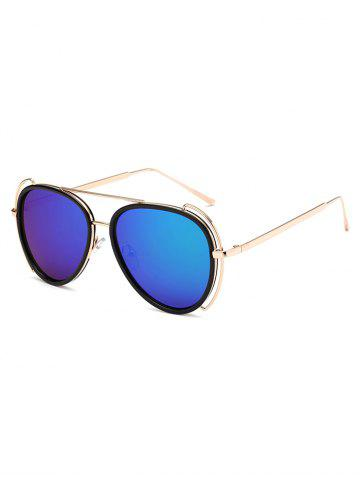 Hollow Out Frame Crossbar Pilot Mirrored Sunglasses - Blue