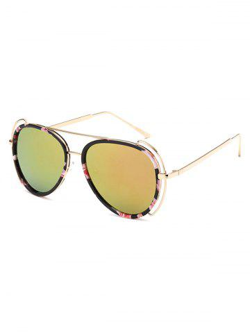 Online Floral Frame Crossbar Pilot Mirrored Sunglasses