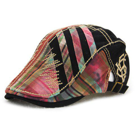 Fancy Plaid Stripy Cabbie Newsboy Cap with Sewing Thread