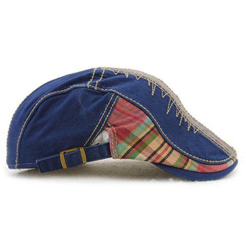 Outfit Plaid Stripy Cabbie Newsboy Cap with Sewing Thread - BLUE  Mobile