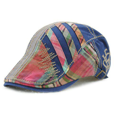 Shops Plaid Stripy Cabbie Newsboy Cap with Sewing Thread - BLUE  Mobile