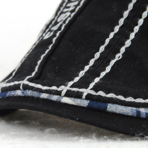 Affordable Sewing Thread Tartan Newsboy Cap with Embroidery - BLACK  Mobile