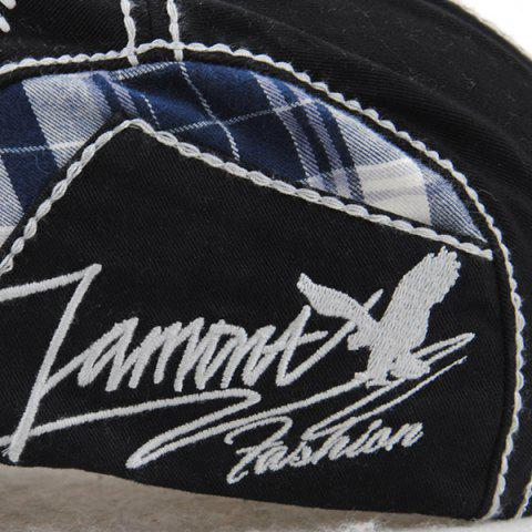 New Sewing Thread Tartan Newsboy Cap with Embroidery - BLACK  Mobile