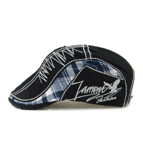 Online Sewing Thread Tartan Newsboy Cap with Embroidery - BLACK  Mobile