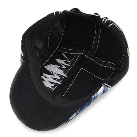 Discount Sewing Thread Tartan Newsboy Cap with Embroidery - BLACK  Mobile