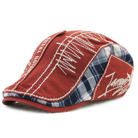 Sewing Thread Tartan Newsboy Cap with Embroidery - Claret - One Size