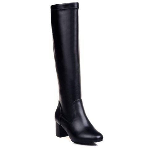 Best PU Leather Chunky Heel Knee High Boots BLACK 39