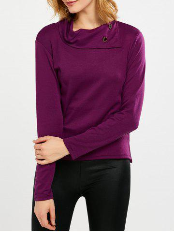 Fashion Cowl Neck Buttoned Slit Long Sleeve T-Shirt PURPLE 2XL