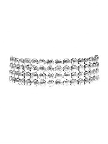 Online Hollowed Round Metallic Choker Necklace SILVER