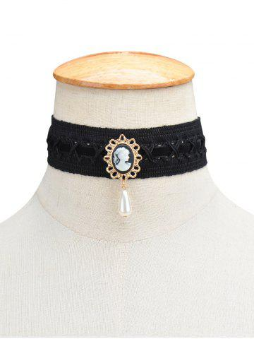 Affordable Fake Pearl Queenly Portrait Choker BLACK