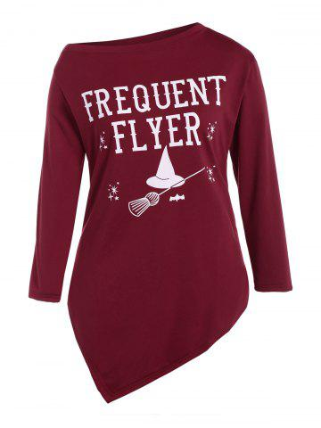 Plus Size Skew Neck Frequent Flyer Print T-Shirt - Wine Red - L