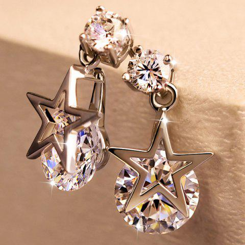Unique Hollow Out Star Diamond Stud Drop Earrings SILVER