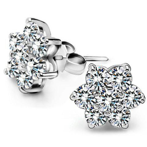 Faux Zircon Flower Stud Earrings - SILVER