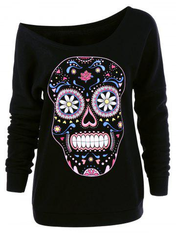 Cheap Skew Neck Skulls Floral Pullover Sweatshirt BLACK M