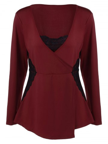 Buy V Neck Plus Size Tee Lace Insert - Wine Red 5XL