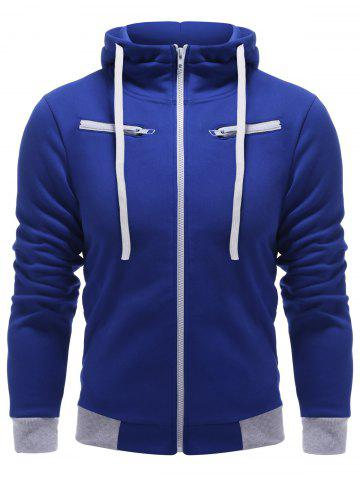 Outfits Full Zip Color Block Hoodie BLUE 2XL