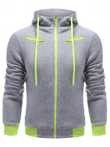 Affordable Full Zip Color Block Hoodie LIGHT GRAY L