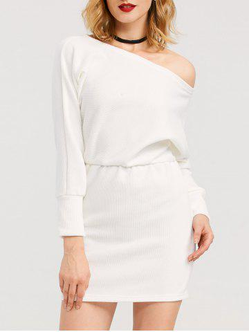 Latest Mini Skew Collar Long Sleeve Dress WHITE XL