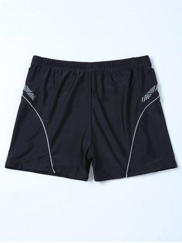 Shop Chevron Graphic Contrast Swim Bottom Boyshorts BLACK 4XL
