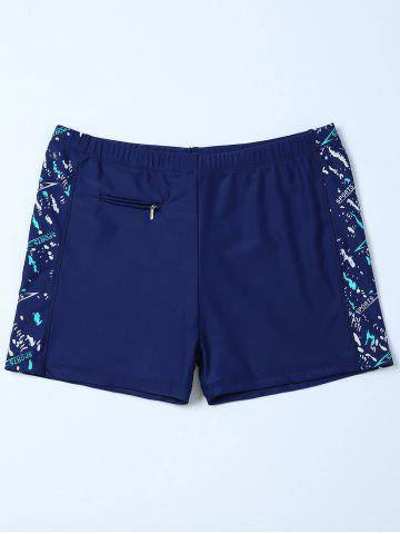 Shops Sports Graphic Zip Printed Swim Bottom Boyshorts DEEP BLUE 4XL