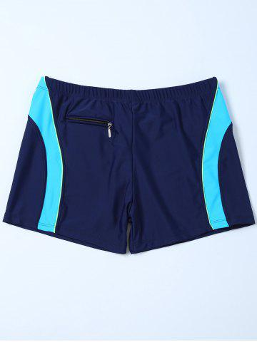 Hot Contrast Insert Zipper Design Swim Bottoms Boyshorts PURPLISH BLUE 2XL