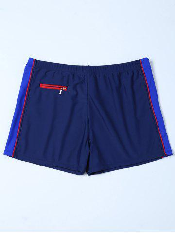 Fashion Zipper Design Contrast Panel Swim Bottoms Boyshorts