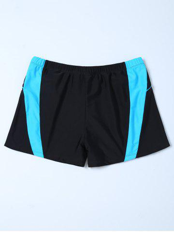 Fancy Contrast Insert Swim Bottoms Boyshorts - 4XL BLACK Mobile