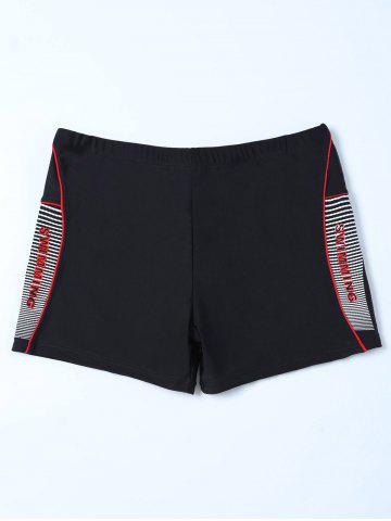 New Graphic Contrast Striped Swim Bottom Boyshorts BLACK 3XL
